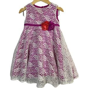 Joe & Ella pink dress with crochet overlay size 2